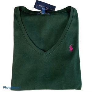 Women's Ralph Lauren V-neck long sleeve shirt top